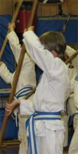 Junior student performing a bo kata.